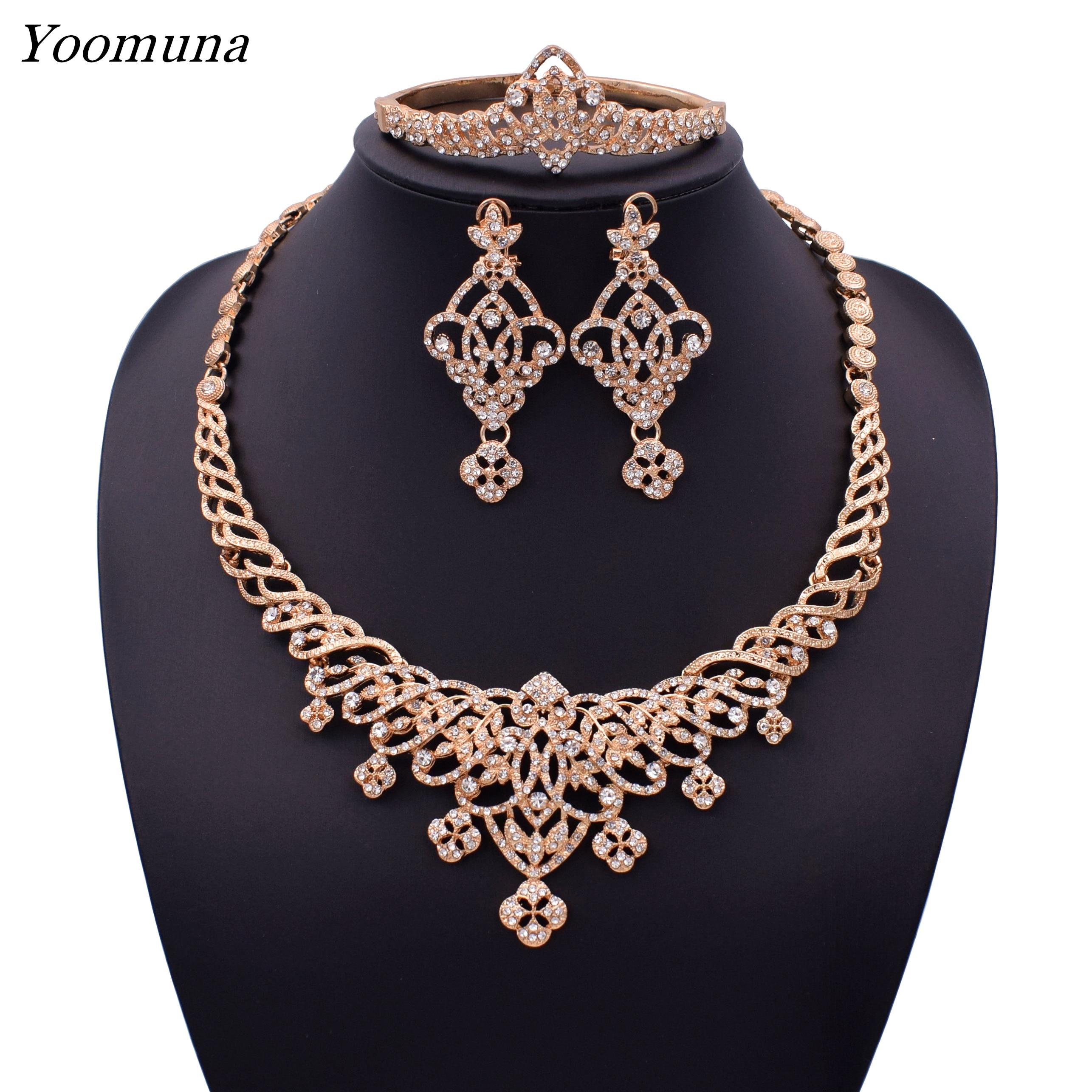 Elegant Dubai Rose Gold Jewelry Set Nigerian Wedding African Beads Crystal Bridal Jewellery Set Crystal Ethiopian Jewelry Parure Jewelry Sets Aliexpress