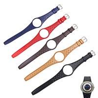 Reloj de piel de becerro Real CARLYWET rojo azul marrón negro caqui con hebilla de acero plateado para Omega Dynamic