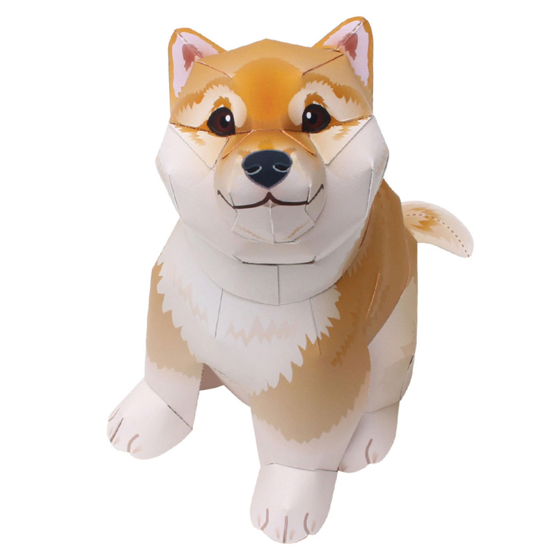 Shiba Inu Dog Yellow Folding Cutting Mini Cute 3D Paper Model Papercraft Pet Animal Figure DIY Kids Adult Craft Toys QD-006