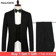 Mens Suits Three-piece suit Formal Dress Men banquet Suit Set Wedding Groom Tuxedos (Jacket+vest+Pants) EURO size S-4XL