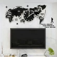 DIY Clocks Wall-Hanging-Sticker Office-Decoration World-Map Living-Room Acrylic Home