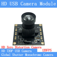 120FPS 720P USB Camera Module Non Distortion Global Shutter monochrome High Speed USB Webcam UVC Linux Surveillance camera