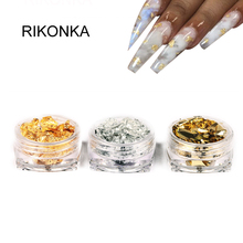 Nail-Art-Stickers Polish Aluminum-Foil-Papers Manicure Gold DIY Irregular RIKONKA Uv-Gel