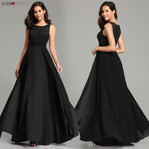 Image 4 - אלגנטי שמלות נשף ארוך 2020 פעם די EZ07695 נשים סקסי אונליין שרוולים O צוואר שיפון תחרה זול ערב מסיבת שמלות