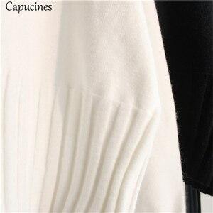 Image 3 - สีขาวผู้หญิงเสื้อกันหนาวเสื้อกันหนาว 2019 ฤดูใบไม้ร่วงฤดูหนาวความยืดหยุ่นสูง Ribbed ถักหญิงหลวมเสื้อกันหนาว