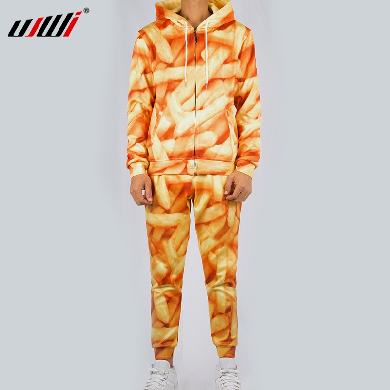 UJWI Men/Women Chips Casual Tracksuit French Fries Streetwear Sweatshirt And Pants 3d Yellow Zip Hoodie Pullovers Couple Suit