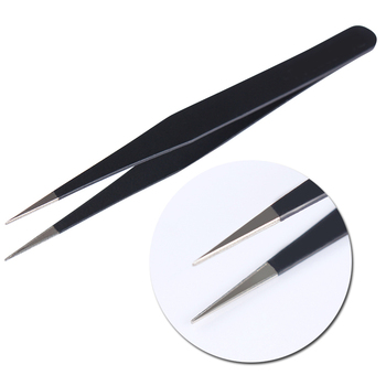 1Pc Black Color 3D Nail Rhinestone Nippers False Eyelash Curved Tip Tweezer Curved Eye Nail Art Makeup Cosmetic Nail Art Tools