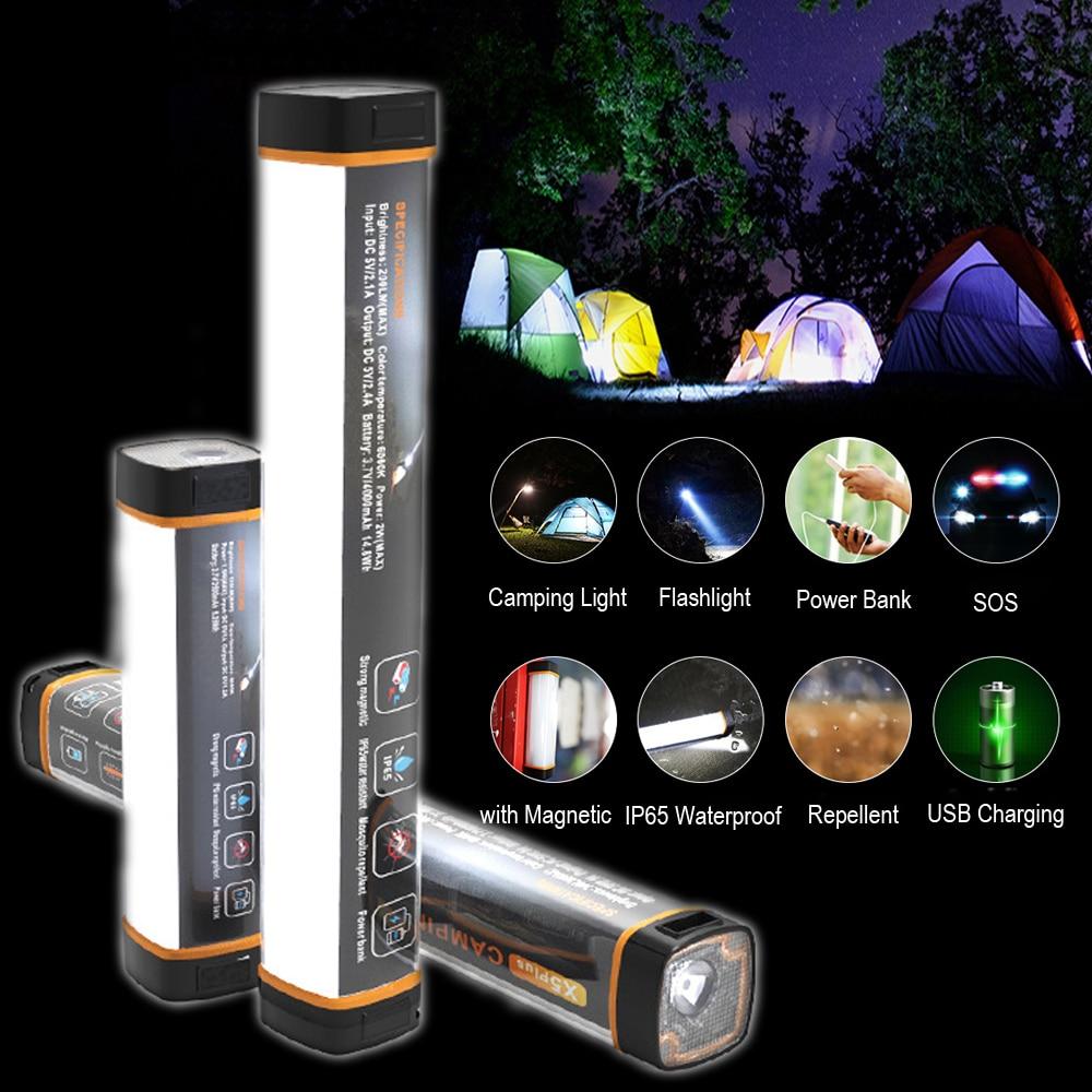 IP65 LED Camping lanterne avec aimant tente lumière USB charge en plein air lumière de secours 6 Modes lampe de poche anti-moustiques