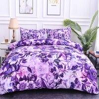 Purple 3D Bedding Set Rose Flowers Print Bedding Duvet Cover Set Queen Comforter Cover Set Quilts Covers King Size Bedding Set
