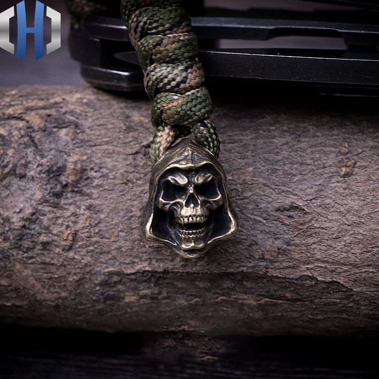 Death Knife Paracord Beads Handmade Key Umbrella Rope Pendant Outdoor EDC Pendant DIY Copper Charm