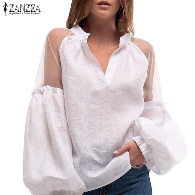 ZANZEA 2020 Patchwork Lace Shirts Fashion Women Sexy Lantern Sleeve Blouse Work Office OL Shirt Loose Chemiser Mujer Plus Size 7
