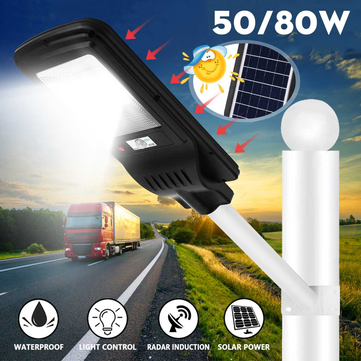 50/80W LED Street Light LED Solar Street Light or Mounting pole Waterproof Road Garden Lamp Street Flood Light Courtyard lamp