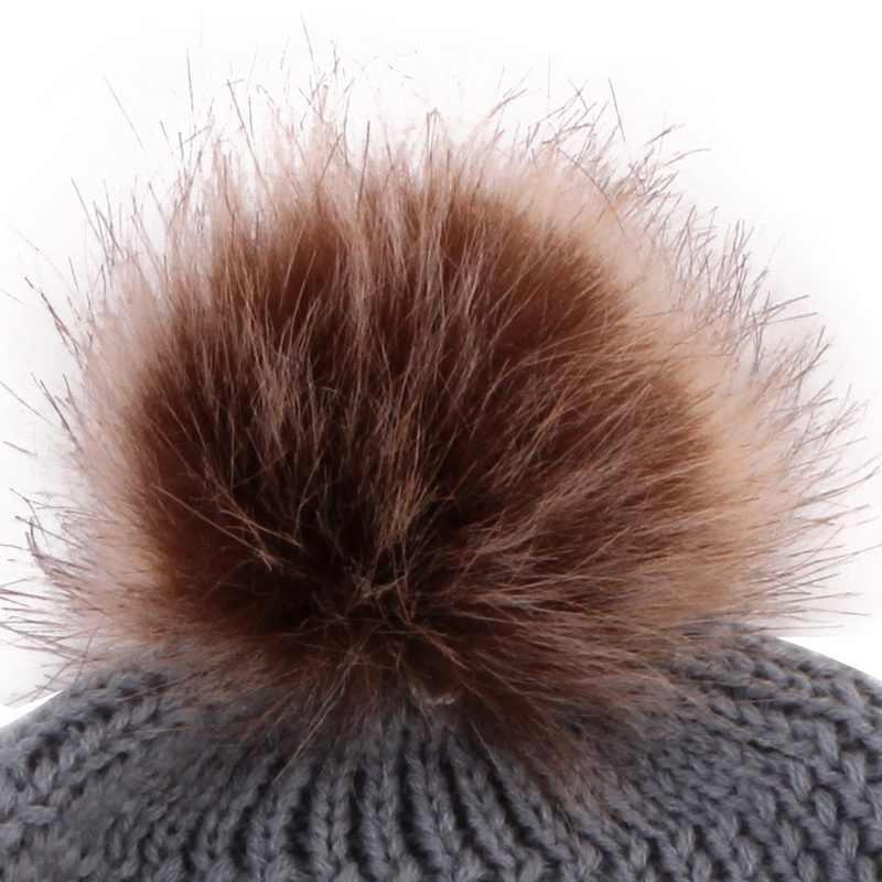 เด็กหมวกฤดูหนาว MOM และหมวก PomPom ขนสัตว์ลูก Bobble เด็กผ้าฝ้ายถักหมวกสำหรับเด็ก xmas ของขวัญ