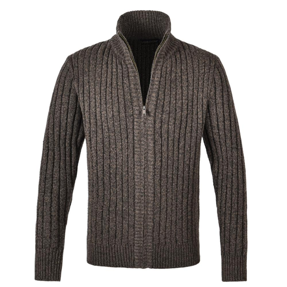 VOBOOM Thick Sweater Coat Spring Fall Cardigan Men Warm Knitwear Winter Outer Wear Slim Fit Zip Up Mock Neck Ribbing Edge 191