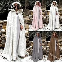 New Winter Women Cloak High Quality Designer Female Vintage Thick Hooded Floor Length Medieval Long Cape With Hoods Overcoat
