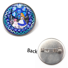 Hot Sweet Cartoon Fairy Alice Princess Brooch Glass Dome Crystal Handmade Badge Girl Gift Movie In Wonderland Jewelry