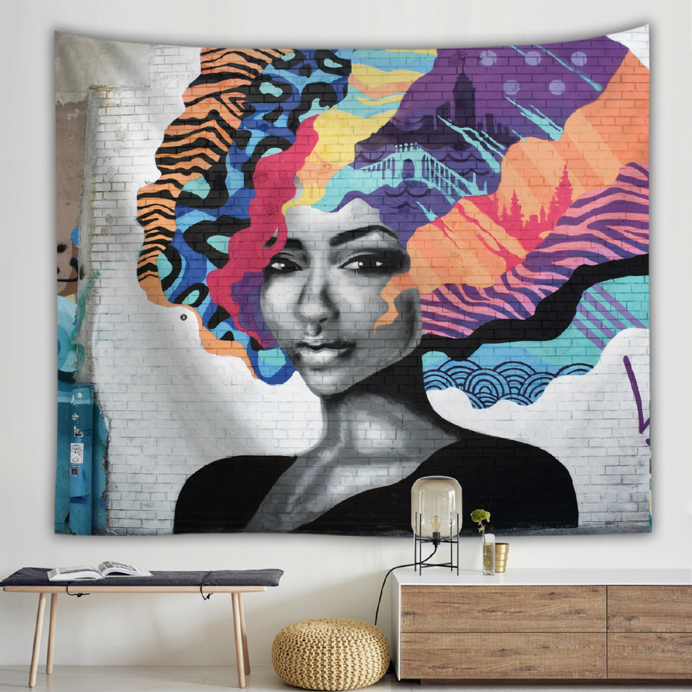Oil Painting Doodle Wall Cloth Tapestries Hippie Bohemia Colorful Polyester Wall Hanging Tapestry Dorm Bedspread Shawl Blanket in Tapestry from Home Garden