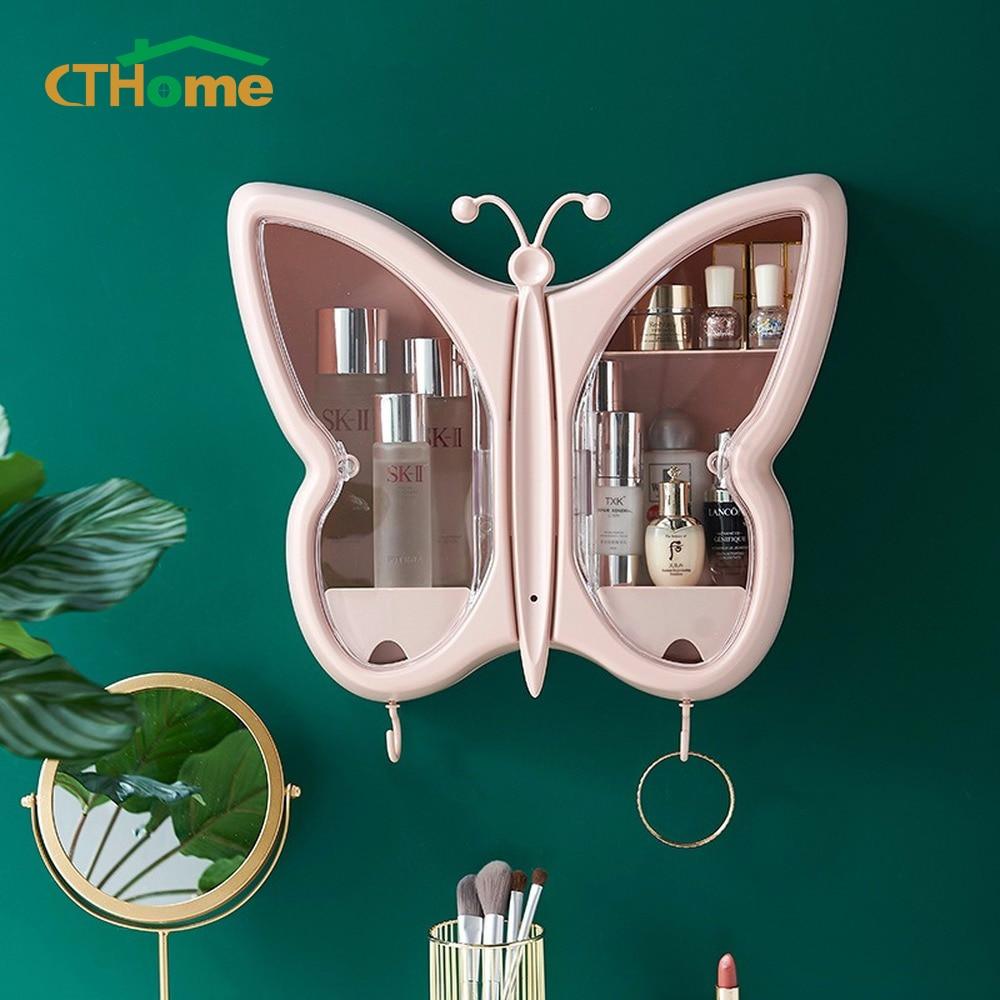 Fashion Capacity Cosmetic Storage Box butterfly Waterproof Dustproof Bathroom Desktop Beauty Makeup Organizer Skin Care Drawer