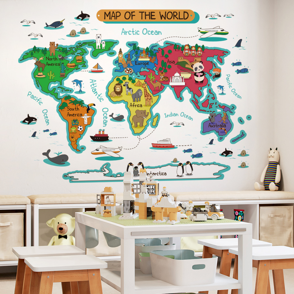 World map wall stickers for kids rooms bedroom decor mural for kids house home decor wall room stickers for decoration image