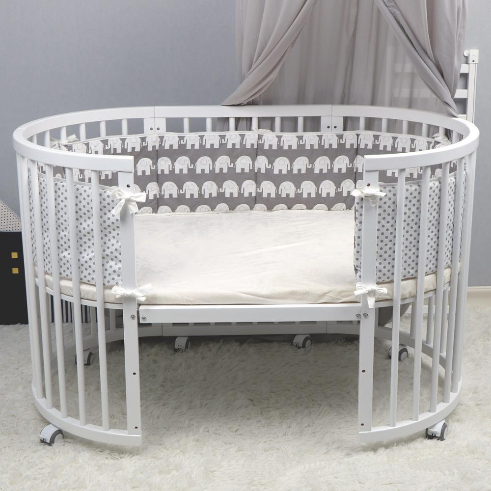 4pcs Baby Bed Bumper 100% Cotton Newborn Crib Cot Bumper Kids Toddler Bed Fence Baby Room Decor Baby Washable Bedding Set