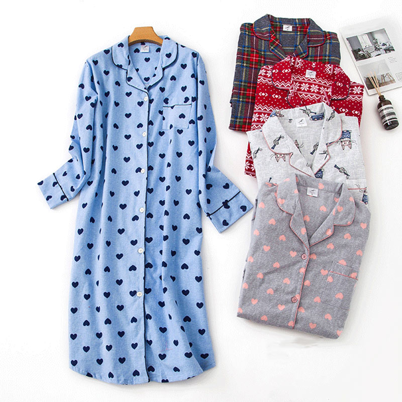 100% Cotton Extended Flannel Nightdress Women New Heart Printed Long Sleeve Sleepwear Female 2020 Autumn Winter Lady Nightwear 1