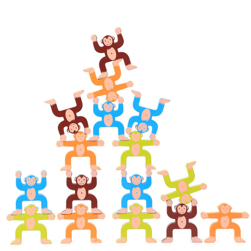 16Pcs/set Wooden Monkey Balance Game Building Blocks Toy For Children Baby Wood Colorful Learning Balancing Block Toys Board