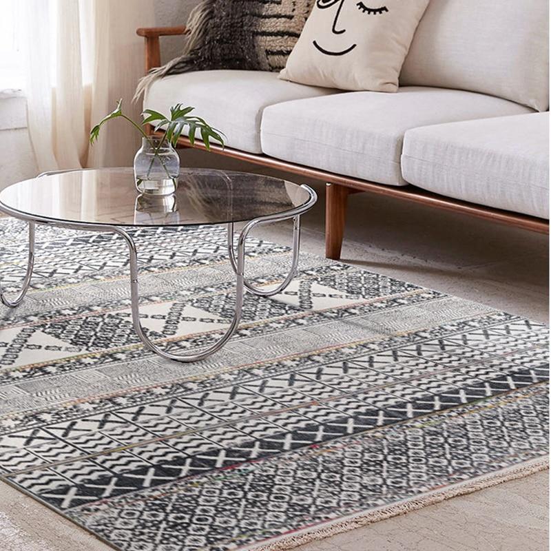 Tapis en coton pour salon inde importé maroc chambre tapis tissé à la main tapisserie avec gland bohème canapé thé Table tapis - 2