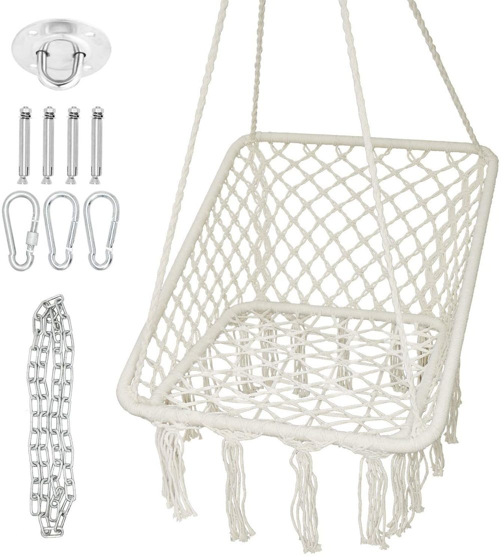 Garden Hanging Hammock Chair Macrame Swing Handmade Cotton Rope Swing Chair Square Bohemian Hanging Chairs for Indoor Outdoor