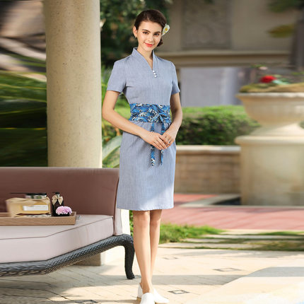 Autumn winter hairdressing master work clothes Thai SPA health club reception work dress in Dresses from Women 39 s Clothing