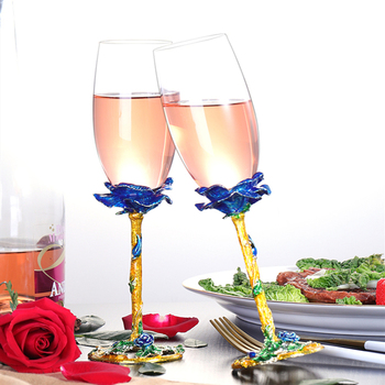 Creative Enamel Color Unleaded Crystal Champagne Glass Home Goblet Wine Glass Wedding Gift