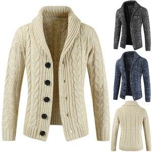 Новый осенний кардиган, мужской свитер, зимний мужской свитер с длинным рукавом, кардиган с отворотом на пуговицах, вязаный свитер, пальто, т...