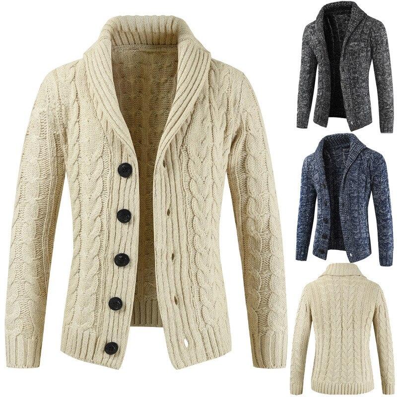 New Autumn Cardigan Sweater Men Winter Mens Long Sleeve Sweaters Lapel Cardigan Button Knit Sweater Coat Tide Warm 2020