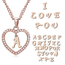 Paper Card Letter Necklace of 26 Letters Rhinestone Loving Heart Chain Necklace Simple  Collarbone Chain Necklace for Women цена 2017