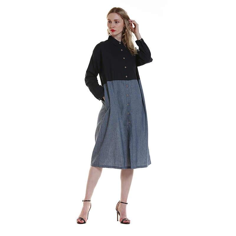 2020 otoño Sexy de manga larga de algodón de lino vestido de camisa de las mujeres elegante botón vestido de fiesta vestido de verano de playa suelta