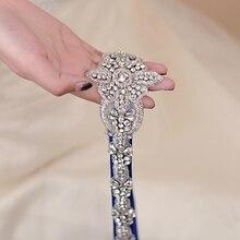 TRiXY S374 Luxury Bridal Belt Silver Wedding Belt Sash Shinny Indian Silk Beaded Belt Royal Medal Craft Diamond Sash Bridal Belt