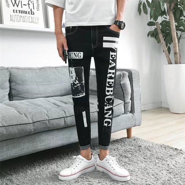 With Holes Jeans Men's Fashion Slim Fit Pants Non-Mainstream Cool Pants Men's Scraping Rotten Teenager BOY'S Korean-style Trend