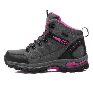 Image 2 - Winter Waterproof Hiking Boots Women Trekking Shoes Outdoor Mountain Leather Treking Sneakers Sepatu Gunung Montagna Botas