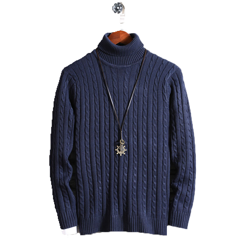 2019 Turtleneck Sweater Men Winter Thick Sweaters Stripe Turtle Neck Male Sweter Jumper Casual Thermal High Quality Pullovers