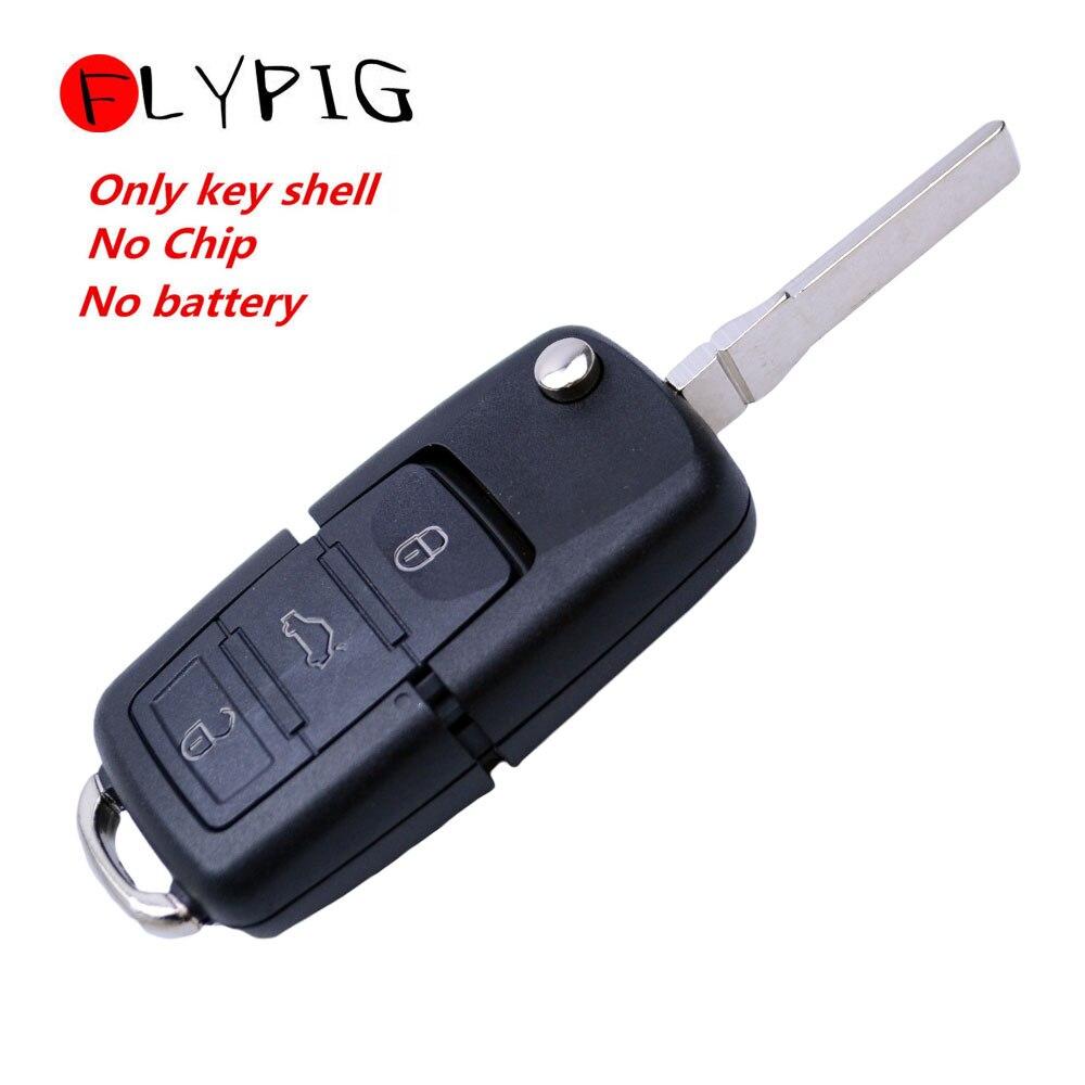 FLYPIG Новый сменный черный 3 кнопки складной Автомобильный ключ флип пульт дистанционного переключения ключа чехол FOB Shell Для VW Volkswagen seat skoda