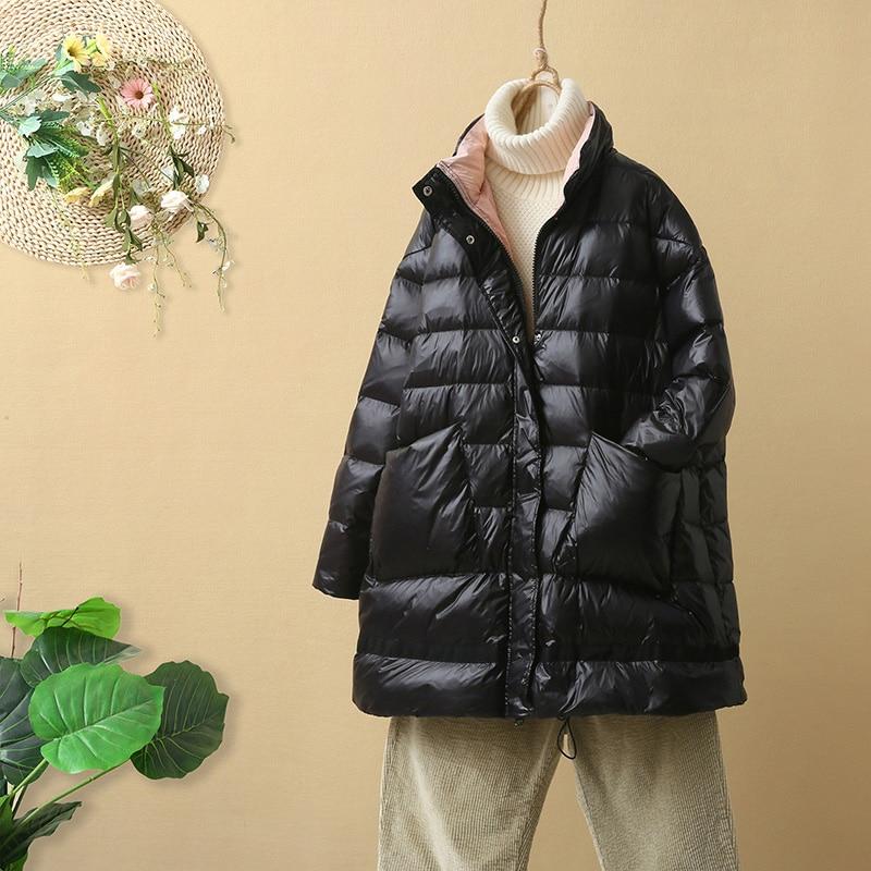2019 Winter Jacket Women 90% Ultra Light White Duck Down Jacket Women Loose Down Coat Female Warm Short Down Parkas Snow Outwear