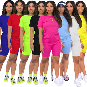 Lemon Gina Summer Women Short Sleeve O-Neck Tee Top Pencil Shorts Suits Two Piece Set Sporty Active Tracksuit Outfit 8286