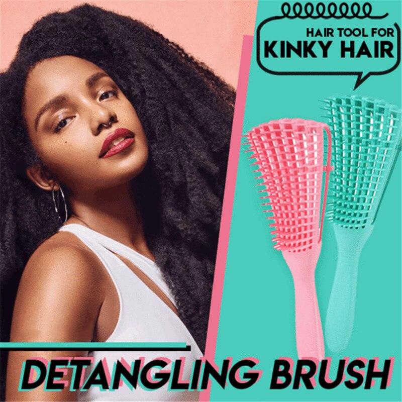 Detangling Brush 4c Hair Detangler Brush For Curly Hair Wet Thick Kinky Hair Adjust Hair Brush Scalp Massage Detangle Hairbrush