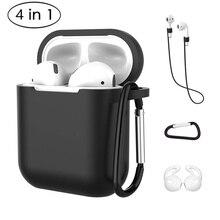 4 In 1 Oortelefoon Siliconen Case Anti Verloren Draad Oordopjes Voor Apple Airpods Air Pods 1 2 Bluetooth Draadloze hoofdtelefoon Accessoires
