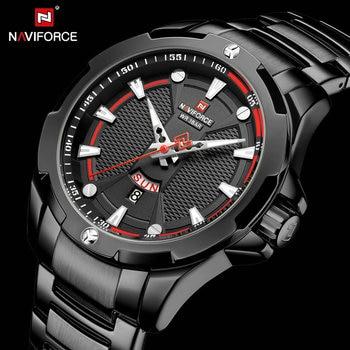 NAVIFORCE 9161 Quartz Watch Full Black Stainless Steel Strap Army Cool Male Clock Waterproof