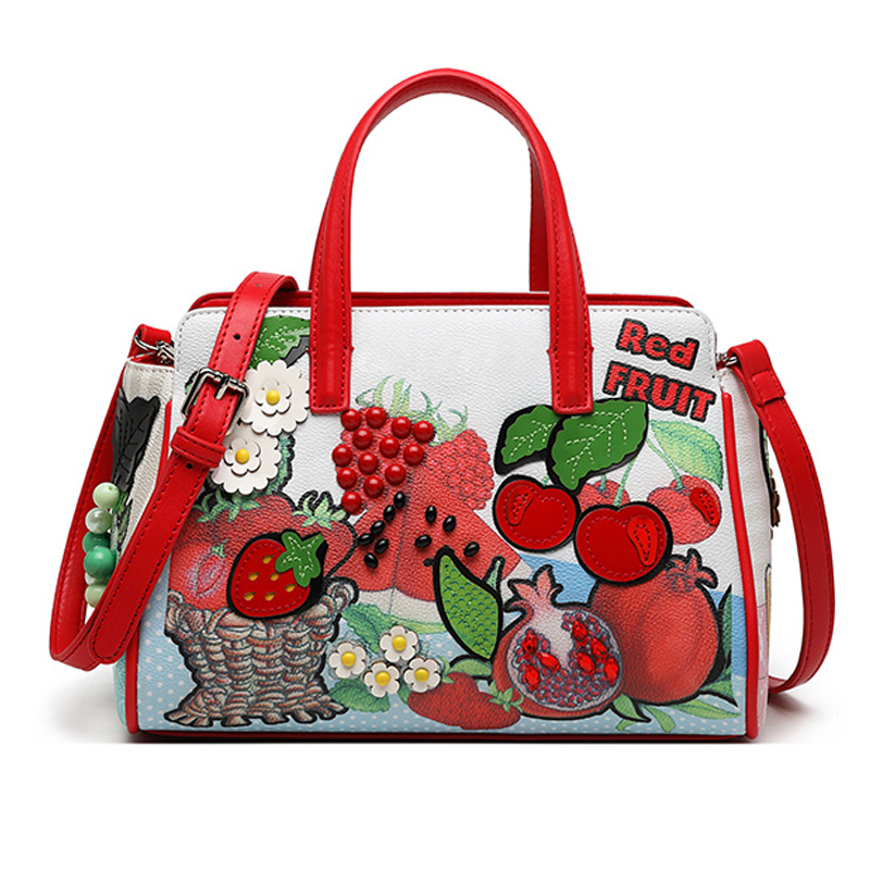 Women Bags Leather Patchwork Handbags Shoulder Bags Cross Messenger Bag Totes Braccialini Brand Style Cartoon Vegetable Fruit
