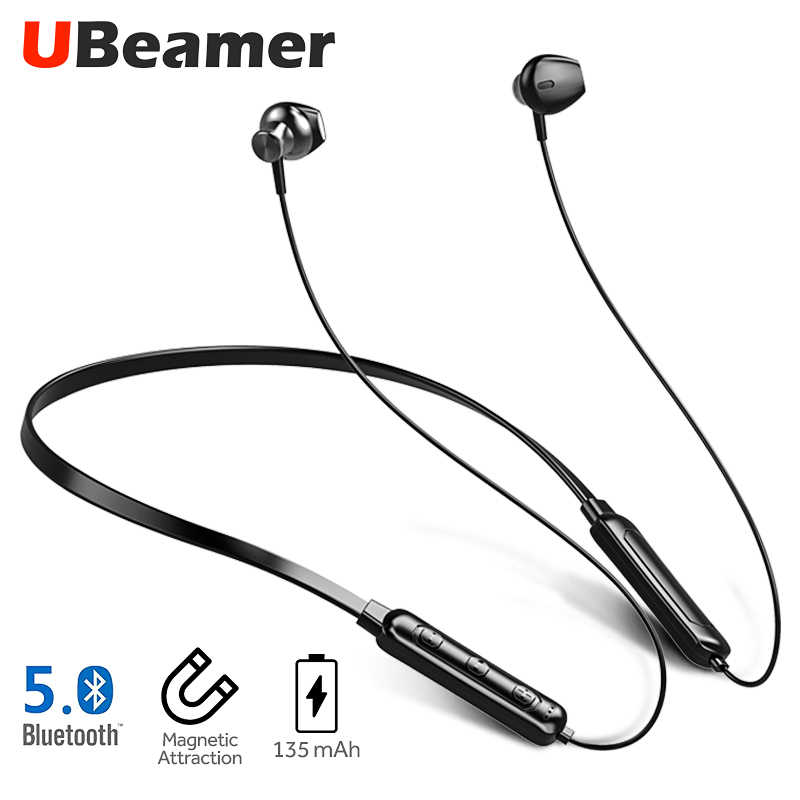 Ubeamer Q7 Bluetooth 5.0 イヤホン 4D サウンドワイヤレスヘッドセットネック-135 mAh 大バッテリー磁気魅力スマートフォン