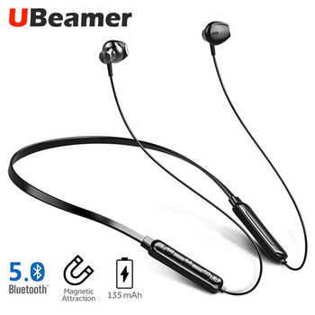 Ubeamer Q7 Bluetooth 5.0 Earphone 4D Sound Wireless Headset Neck-hanging 135mAh large battery Magnetic Attraction for SmartPhone - DISCOUNT ITEM  66% OFF All Category