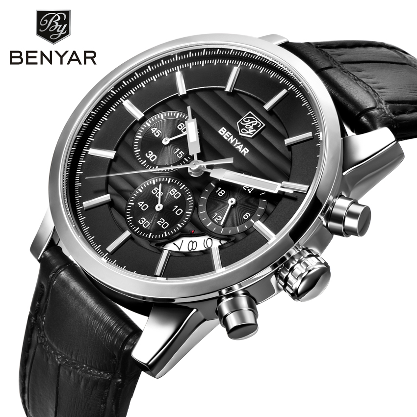 <font><b>Benyar</b></font> Men's Watch 2019 Fashion Casual Sports Watch Top Brand Luxury Military Watch Leather Waterproof Watch Men Wholesale image