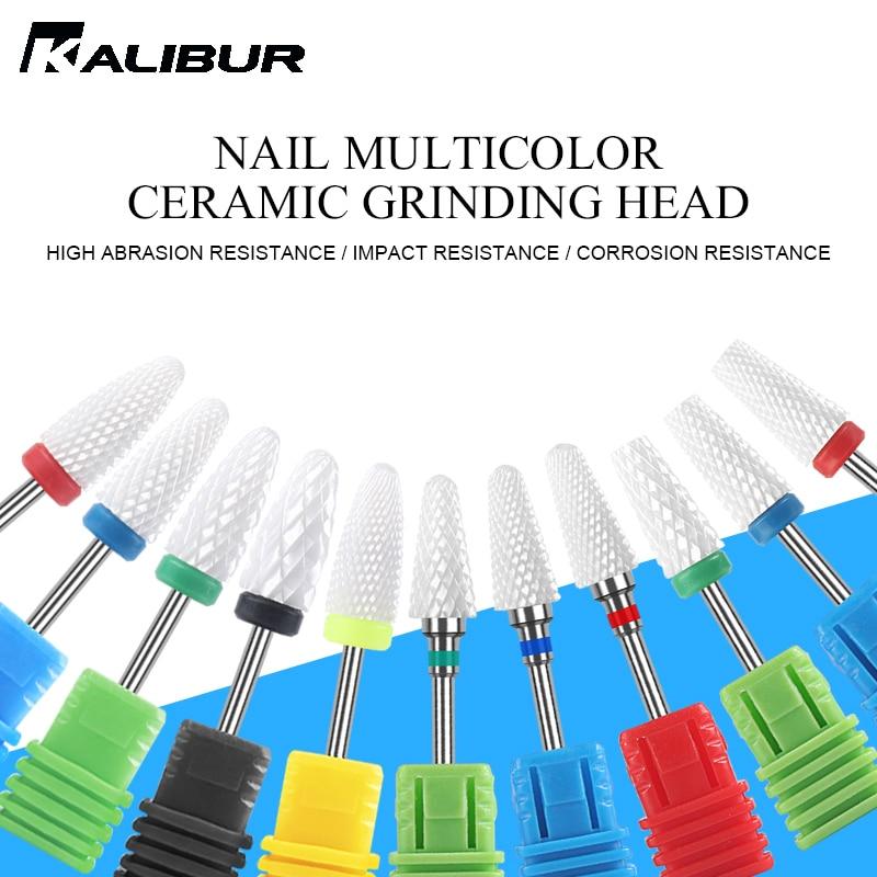 KALIBUR Ceramic Nail Drill Bits For Electric Drill Manicure Machine Ceramic Grinding Head Nail Drill Bit Head Nail Polishing T