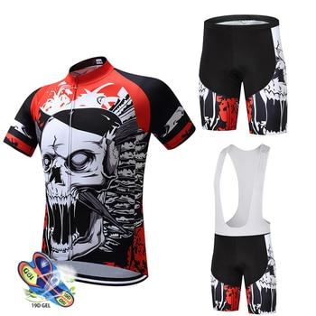 HuanGe Conjunto de jersey de Ciclismo cráneo 2020 rojo Ropa de verano...